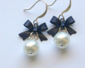 RESERVED LISTING for CHRISTIE - Navy Blue Bow Earrings Set of Five Pairs