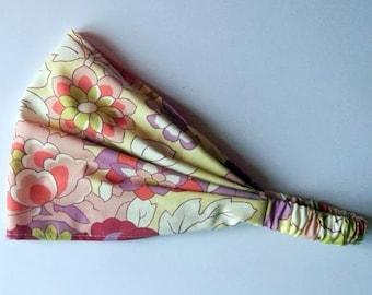 Yoga Headband Cotton Bandana - Amy Butler Gypsy Caravan Gypsy Caravan Cutting Garden Linen fabric
