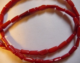 Bead, Bamboo Coral Dyed, Red, 6x3mm-9x4mm round tube, Mohs hardness 3-1/2 to 4 Sold per 8 inch strand