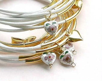 10 Leather Bangles Bracelets White Leather Hearts  - FREE SHIPPING