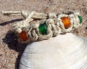 Handmade Surfer Phatty Thick Hemp Bracelet or Anklet With Glass Beads