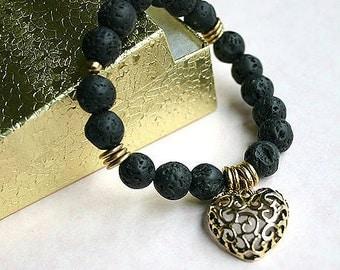 SALE - Lava Rock Beads Stretch Bracelet with Heart Charm
