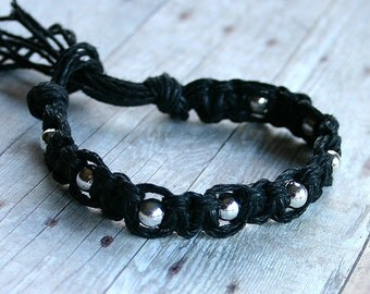 Surfer Macrame Hemp Bracelet  Black and Metal Beads