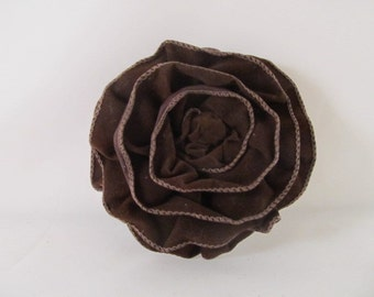Ribbon Rose Pin-Hair Clip-Brooch-Chocolate Brown-Velvet