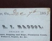 Pre Civil War Receipt from R F Maddox 1858 LaGrange Georgia