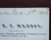 Pre Civil War Receipt from R F Maddox 1858 LaGrange Georgia
