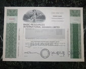 Vintage Stock Certificate 1985 Basic Resourses Int, Bahamas, 100 Shares