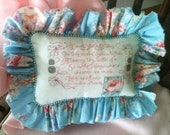 Shabby Cottage Hand Stitched Tooth Fairy Pillow Girl Blue Pink OFG HAFAIR STATTEAM TeamUNITY