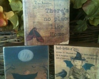 Set of 3 Primitive Halloween Wood Blocks featuring There's No Place Like Home, Halloween child, Pumpkin scarecrow Statteam OFG TeamUNITY