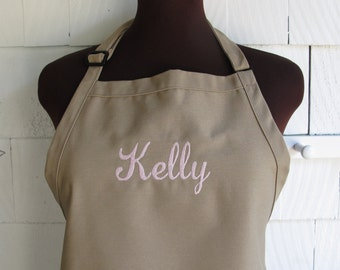 Personalized Apron - Apron with Name Monogrammed Apron - Bridal Shower Gift - KHAKI APRON
