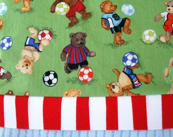 Pillowcase - Soccer Bears Print on Cotton with Light Blue Ribbed Minky