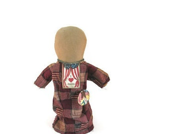Patriotic Doll, USA, July 4, Primitive Doll, Flag, Faceless, Church Doll, Red White Blue, American Flag, Burgundy, Cream, Rusty Star