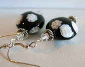 Black Venetian Millefiori Sterling Silver Earrings