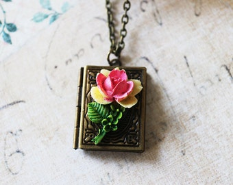 Book Locket Necklace. antique brass book locket with rose.