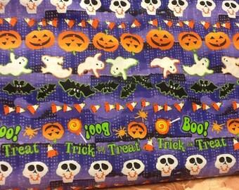 "44"" Halloween cotton fabric skulls ghosts pumpkins candy corn bats trick or treat boo"
