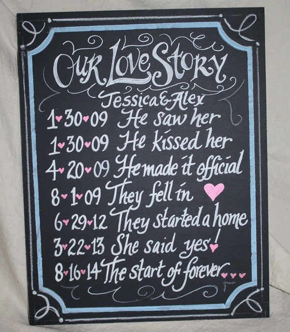 Our Love Story Wedding Idea: Our Love Story Chalkboard Art Sign For Your Wedding 11 X