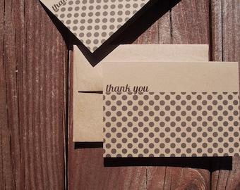 Polka Dot Thank You Notes - Kraft Paper Thank You Cards, Modern Black Dots Rustic Neutral Kraft Stationery, Note Card Set Black Polka Dots