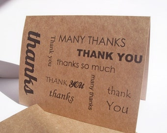 Thank You Card - Kraft Paper Typography Thank You Card, Kraft Black Brown Rustic Earthy Neutral, Typographic Thank You Greeting Card