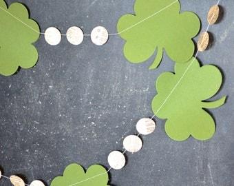 St. Patrick's Day garland - clover shamrocks and vintage circles