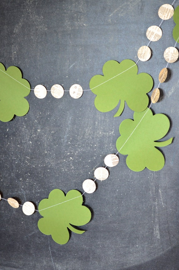 St. Patrick's Day garland - clover shamrocks and vintage circles