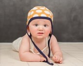 baby pilot hat, orange dot baby knit caps, cotton knit baby hat, hat with ties, hearing aid hat, hat for toddlers, fall hat for baby, shower