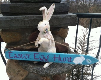Hand Painted Vintage Picket Spring Easter Egg Hunt Sign, Easter Party Decoration, Home And Living, Outdoor Garden Decor