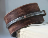 Men's Bracelet Antique Iron Barn Nail And Upcycled Leather Urban Cuff