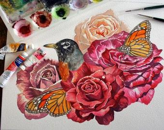 Robin, Roses, Butterflies - Original Watercolor Study