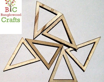 6 Unfinished Wood Triangle Pendants, Laser Cut, Geometric Styles