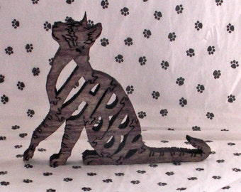 Tabby Cat Handmade Fretwork Wood Puzzle