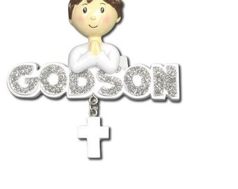 Personalized Christmas Ornament Godson,Christeniing, Baptism, Communion-Free Personalization