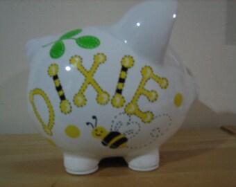 Personalized Large BumbleBee Piggy bank- Newborn, Ring Bearer, Baby Shower, Christening, Birthday Centerpiece