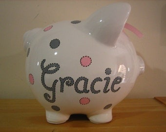 Personalized Flower Girl Large Piggy Bank Pink/ Grey Polka Dots-Newborns , Girls , Baby Shower Gift Centerpiece