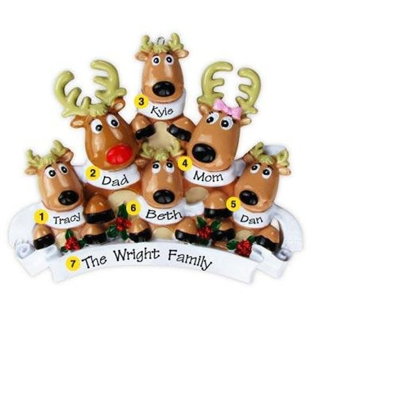 Personalized Christmas Reindeer Family Ornaments- Family six- Free Personalization- Great Hostess Gift