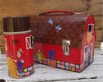 RED BARN Lunchbox and Thermos, 1971 DOME, Vintage Tin-Litho, Metal Toy, Container