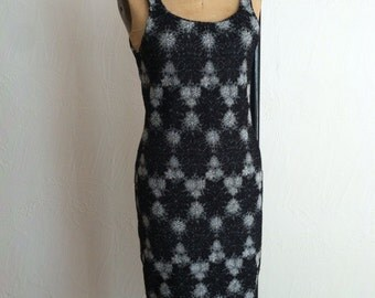 Silver Lurex Explosions on Black Rayon Knit Vintage MISSONI Shapely Sheath Dress M