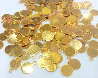 100 Gold Charms Stamp  (8 mm) 100 Pcs ,  Gold Plated Brass G1161