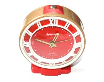 Vintage alarm clock Jantar brown clock red clock