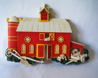 Red Barn Wall Hanging, Perfect for Kitchen Decor, Plastic and Easy to Clean, Red Farm w Silo, Horse and Plow