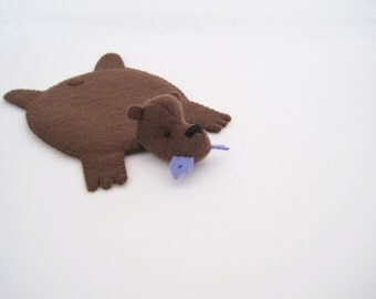 Bear Rug Coaster with Fish (Dark brown with blue fish)