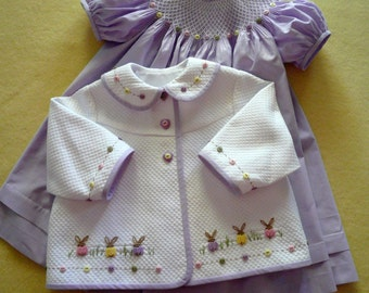 "Buttons and Bunnies - Dakota Pique w/ Lavender Pima 1/32"" micro check - Sizes 6 months - 3 years"