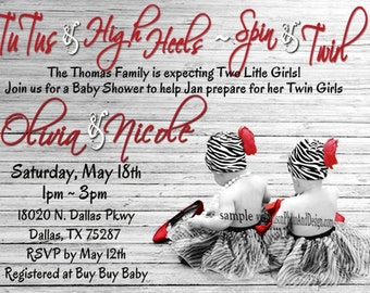 Zebra Print TUTU  and High Heels Baby Shower Invitations for a GIRL or TWIN Girls