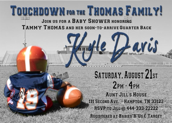 baby shower invitation digital file football sports theme for, Baby shower invitations