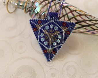 Triangle Peyote Necklace, Beaded Peyote Necklace, FREE SHIPPING