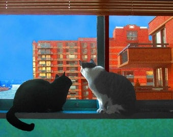 City Skyline Cat Art Print, Cat Artwork,Window Frame Art, Window Frame Wall Decor, Cat Lover Gift, Deborah Julian