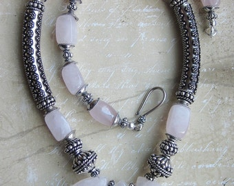 Rose Quartz and Sterling Necklace