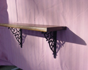 Natural Finished Wood Shelf with Cast Iron Brackets