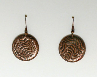 Copper Etched Foral Earring