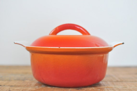 Vintage Flame Orange Red Enameled Cast Iron Small Dutch Oven Covered Casserole 1 Qt Made in Belgium