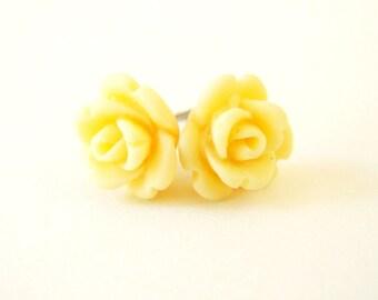 Buttercream Yellow Rose Stud Earrings- Surgical Steel Posts Earrings- 9mm